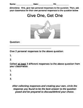 Give 1, Get 1 Bellringer/Hook Activity