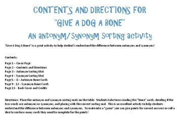 Give A Dog A Bone - An Antonym/Synonym Sorting Activity