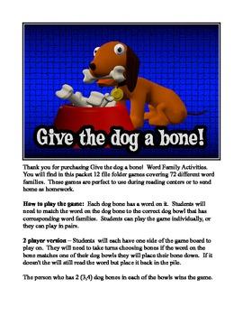 Give A Dog A Bone: Phonics File-Folder Games