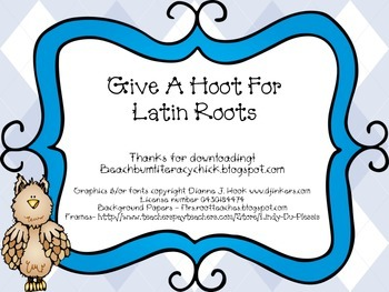 Give A Hoot For Latin Roots!!