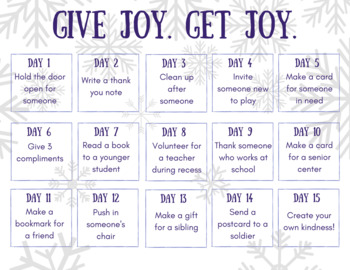 Give Joy Get Joy Kindness Challenge