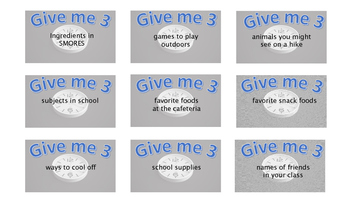 Give Me 3 in 10 Back to School Game