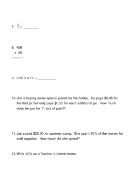Give Me 5 - A Cinco de Mayo Math Review Sheet