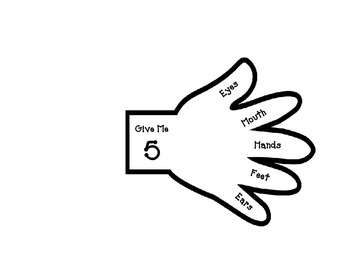 Give Me 5 Attention Hand PK-3 - Listening - Behavior - Cla