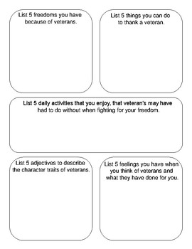 Give Me 5 - Engaging, Critical Thinking Activity - Veteran's Day