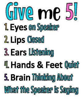 Give Me 5/Five Classroom Management Poster Sign