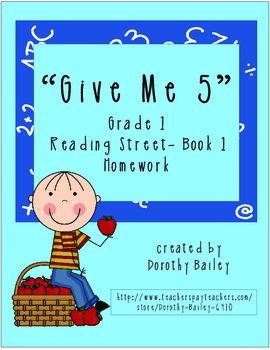 Give Me 5 Reading Street Grade 1 (2007) Book 1 Homework