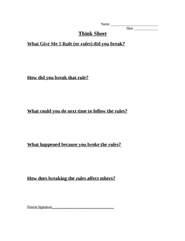 Give Me 5 Rules: Think Sheet