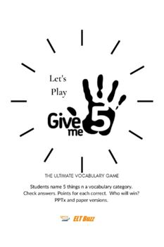 Give Me 5 Vocabulary Game & Flashcards