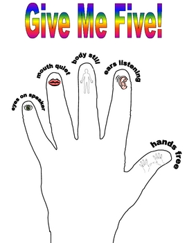 Give Me Five Classroom Management Poster by Misty Mabry | TpT Quiet Signal For Teachers