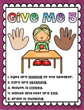 Give Me Five Classroom Management Poster Set