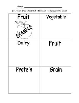 Give Me Five Food Groups Worksheet