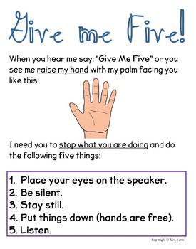 Give Me Five! Classroom Management Poster