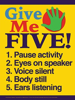 Give Me Five - 18x24 Instructional Poster