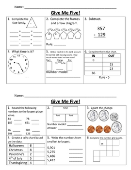Give Me Five Math Review #6