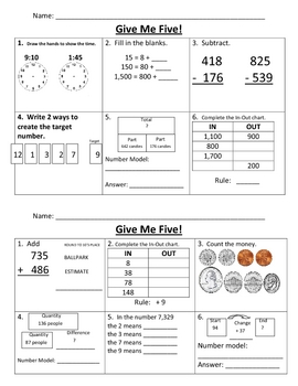Give Me Five Math Review #8