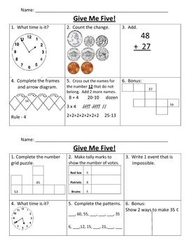 Give Me Five Math Review Bundle