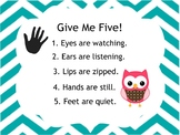 Give Me Five! Owl Poster