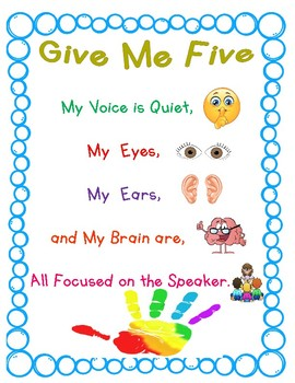 Give Me Five Poster Anchor Chart