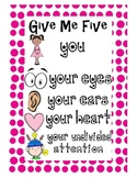 Give Me Five Poster for Classroom Management
