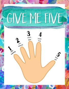 Give Me Five Quiet Signal Posters {Calm & Cool Watercolor}