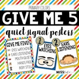 Give Me Five Quiet Signal Posters {Primary Colors}
