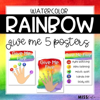 Give Me Five Quiet Signal Posters {Rainbow Watercolor}