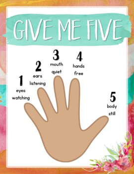 Give Me Five Quiet Signal Posters {Warm & Sunny Watercolor}