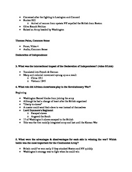 Give Me Liberty an American History: Chapter 5 Questions & Teacher Notes