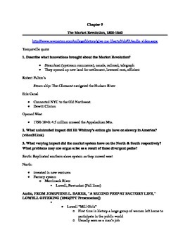 Give Me Liberty an American History: Chapter 9 Questions & Teacher Notes