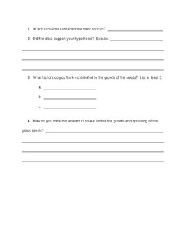 Give Me Some Space Worksheet (Studying Limiting Factors)