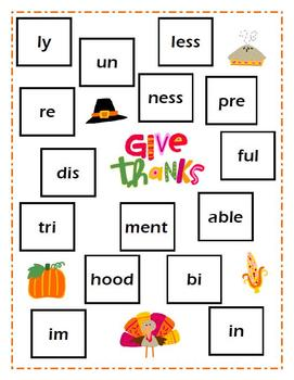 """Give Thanks"" A Thanksgiving Prefix and Suffix Bump Game"