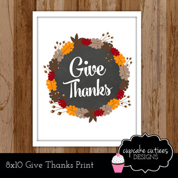 Give Thanks Autumn Sign Poster Classroom Decor Gift Printable- FREEBIE
