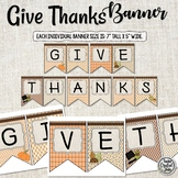 Give Thanks Banner - Holiday Banner - Fall Banner
