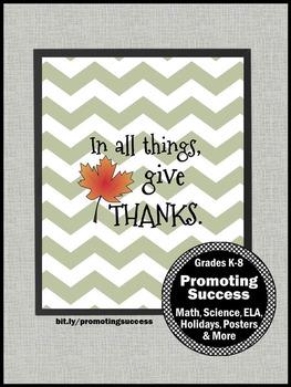 Give Thanks Chevron Classroom Decor for Thanksgiving Fall Printable Decoration