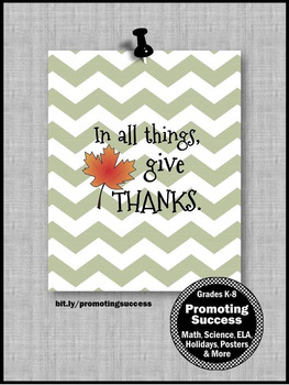 Thanksgiving Poster Classroom Decor GIVE THANKS Quote