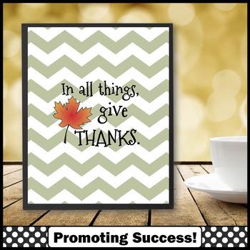Give Thanks Chevron Classroom Decor for Thanksgiving Fall