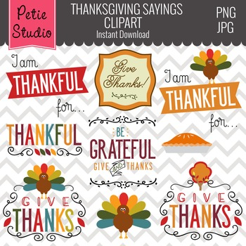 Give Thanks Clipart // Thanksgiving Sayings // Thanksgiving Clipart - Fall112