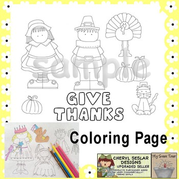 Give Thanks Coloring Page Thanksgiving By Margie Johnston Tpt