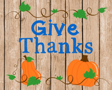Thanksgiving Poster, Class Decor, Holiday Sign, Bulletin Board