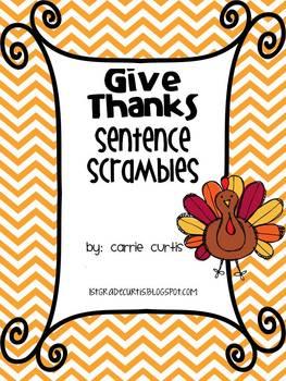 Give Thanks Sentence Scramble