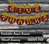 Give Thanks Thanksgiving Printable Acorn Banner Gold Glitt