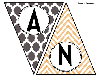 Give Thanks - Thanksgiving Quatrefoil and Chevron Banner / Pennant