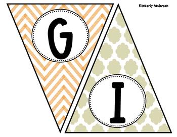 Give Thanks - Thanksgiving Quatrefoil and Chevron Banner /