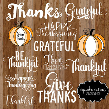 Give Thanks - Thanksgiving Word Art Overlays Digital