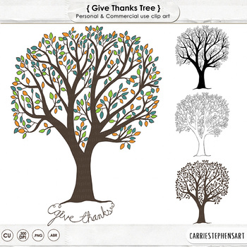 Give Thanks Tree ClipArt, Thanksgiving Tree Printable, Thankful Tree Clip Art