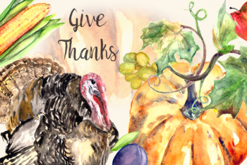 Give Thanks - Watercolor Clip Art Set