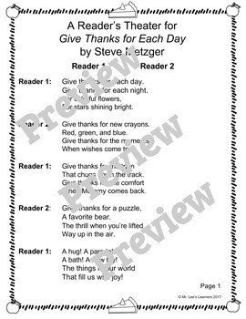 Give Thanks for Each Day by Steve Metzger - Reader's Theater Companion