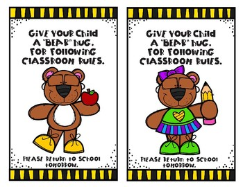 "Give Your Child a ""BEAR"" Hug for following the Rules Take-home Card"