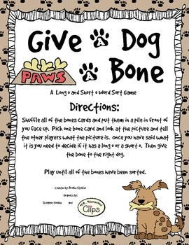 Give a Dog a Bone - A Long and Short o Word Sort